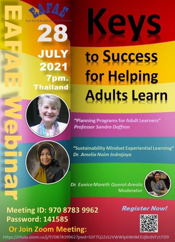 Keys to Success for Helping Adults Learn สามารถลงทะเบียนฟรี ไม่มีค่าใช้จ่ายใด ๆ ค่ะ